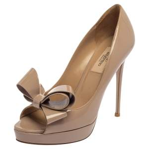 Valentino Beige Patent Leather Bow Accents Platform Pumps Size 38