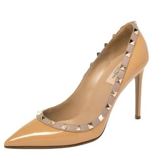 Valentino Beige Patent Leather Rockstud Pointed Toe Pumps Size 38