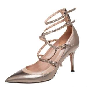 Valentino Metallic Gold/Beige Leather Love Latch Detail Eyelet Embellished Pumps Size 39