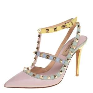 Valentino Multicolor Leather Rockstud Caged Ankle-Strap Sandals Size 36