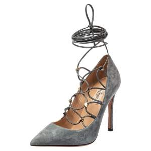 حذاء كعب عالي فالنتينو سويدي رصاصي روكستد بحزام للكاحل مقدمة مدببة مقاس 36