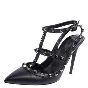 Valentino Black Leather Rockstud Sandals Size 38