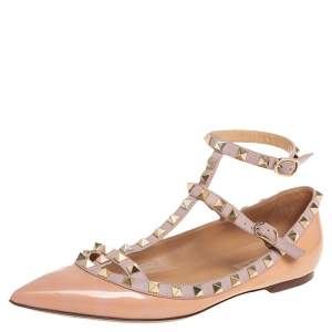 Valentino Beige Patent And Leather Rockstud Flats Size 39.5