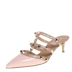Valentino Pink Patent Leather Rockstud Pointed Toe Mule Sandals Size 36.5