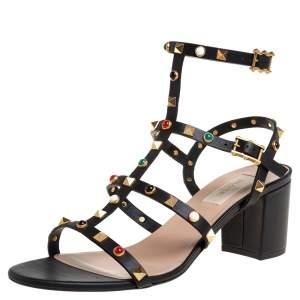 Valentino Black Leather Rolling Rockstud Sandals Size 40