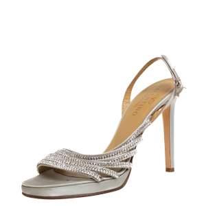 Valentino Light Grey Satin Crystal Embellished Slingback Sandals Size 38