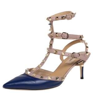 Valentino Blue/Beige Leather Rockstud Caged Sandals Size 38