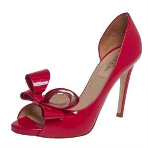 حذاء كعب عالي فالنتينو جلد أحمر لامع بفيونكة دورسي مقاس 38.5