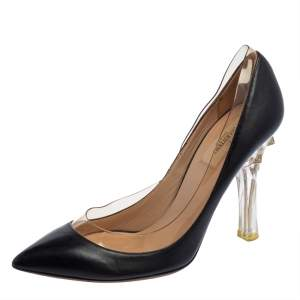 حذاء كعب عالى فالنتينو روكستد بى فى سى وجلد أسود مقاس 39