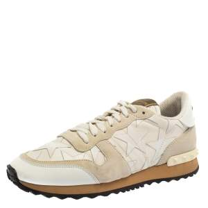 Valentino White Suede And Canvas Rockrunner Camustars Sneakers Size 40