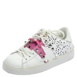 Valentino White/Pink Leather Untitled Low Top Sneakers Size 35.5