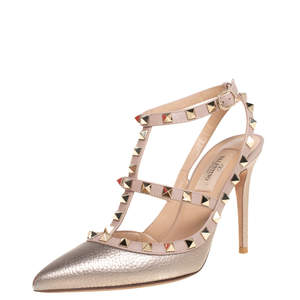 Valentino Metallic Pink Leather Rockstud Pointed Toe Sandals Size 37.5