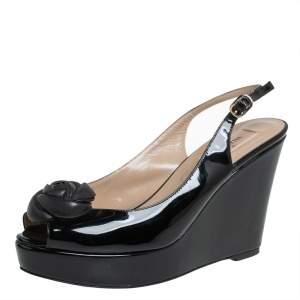 Valentino Black Patent Leather Rose Embellished Wedge Platform Slingback Sandals Size 38.5