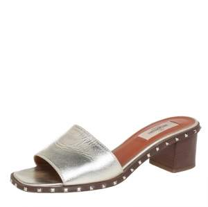 Valentino Gold Leather Rockstud Slide Sandals Size 36