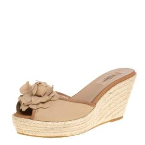 Valentino Beige Leather And Fabric Slip On Sandals Size 39.5