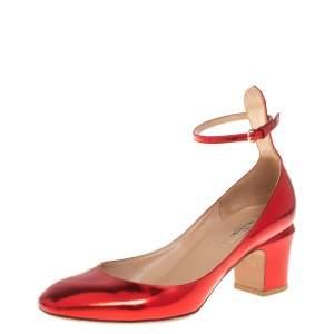 حذاء كعب عالي فالنتينو جلد أحمر ميتاليك تانغو كعب مربع سميك مقاس 39