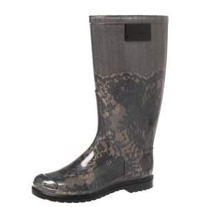حذاء بوت مطر فالنتينو مطاط طباعة دانتيل بيج / أسود مقاس 36