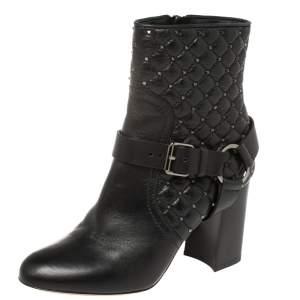 حذاء بوت كاحل فالنتينو مرصع جلد أسود مقاس 35