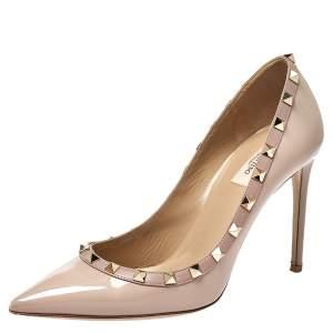 حذاء كعب عالي فالنتينو روكسند جلد بيج لامع مقدمة مدببة مقاس 39.5