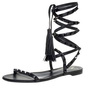 Valentino Black Leather Rockstud Lace Up Flat Sandals Size 39