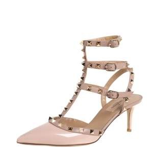 Valentino Beige Patent Leather Rockstud Ankle Strap Sandals Size 39