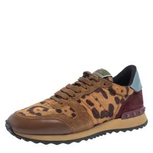 Valentino Brown Animal Print Calf Hair, Suede and Leather Rockrunner Low Top Sneakers Size 39.5