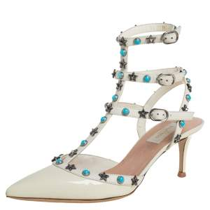 Valentino White Patent Leather Studded Ankle Strap Sandals Size 39