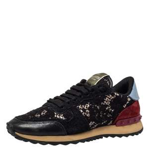 Valentino Black Leather And Lace Rockrunner Sneakers Size 37