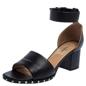 Valentino Black Leather Soul Rockstud Ankle Strap Block Heel Sandals Size 37