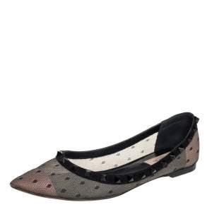 حذاء باليرينا فلات فالنتينو مرصع روكستد سويدي و دانتيل أسود مقاس 38