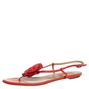 Valentino Red Leather Floral Flat Sandals Size 38.5