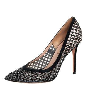 Valentino Black Suede And Mesh Embellished Pumps Size 36