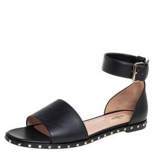 Valentino Black Leather Studded Ankle Cuff Sandals Size 38.5