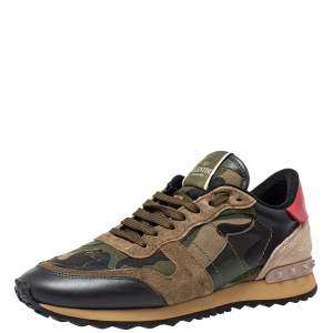 Valentino Leather, Suede Multicolor Camouflage Rockrunner Sneaker Size 40