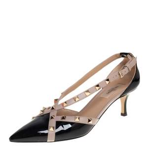 Valentino Black Patent Leather and Leather Trim D'orsay Pointed Toe Pumps Size 38