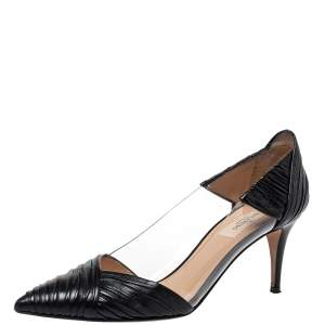 Valentino Black Leather and PVC B Drape Pointed Toe Pumps Size 39