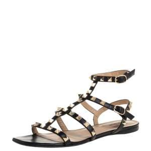 Valentino Black Leather Rockstud Ankle Strap Flat Sandals Size 37.5