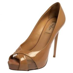 Valentino Beige Patent Leather And Mesh Criss Cross Platform Pumps Size 39