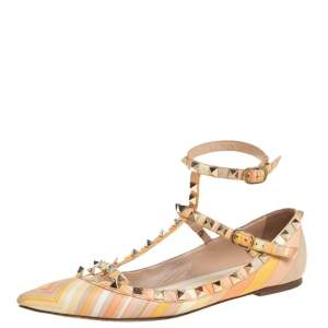 Valentino Multicolor Leather Rockstud Ankle Cuff Ballet Flats Size 37