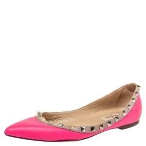 Valentino Pink Leather Rockstud Ballet Flats Size 37.5