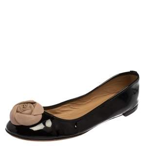 Valentino Black/Beige Patent And Leather  Roses Ballet Flats Size 40