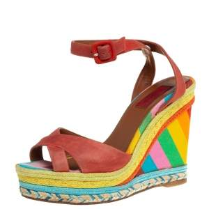 Valentino Red Suede Criss Cross Wedge Espadrille Sandals Size 38