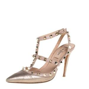 Valentino Metallic Gold/Beige Leather Rockstud Ankle Strap Sandals Size 36