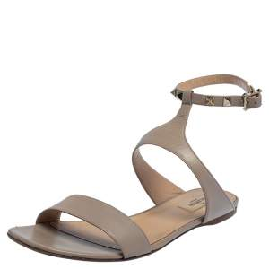 Valentino Beige Leather Rockstud Ankle Strap Flat Sandals Size 40.5