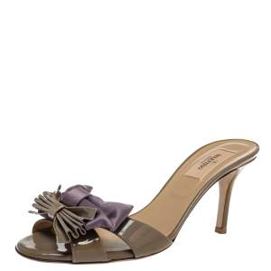 Valentino Grey/Purple Patent Leather And Satin Bow Slide Sandals Size 38.5