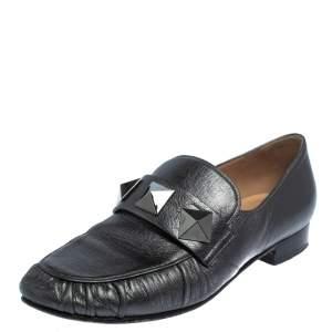 Valentino Metallic Grey Leather Rockstud Loafers Size 36