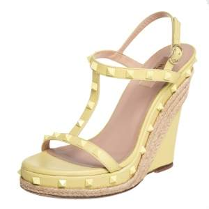 Valentino Pale Yellow Leather Rockstud T-Strap Wedge Platform Espadrille Sandals Size 40