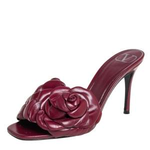 Valentino Burgundy Leather Rose Slide Sandals Size  36