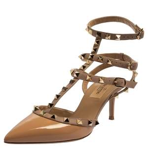 Valentino Beige Patent Leather Rockstud Sandals Size 37