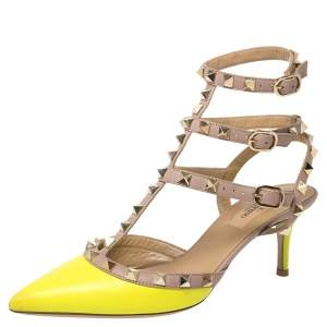 Valentino Neon Yellow/Beige  Leather Rockstud Sandals Size 36.5